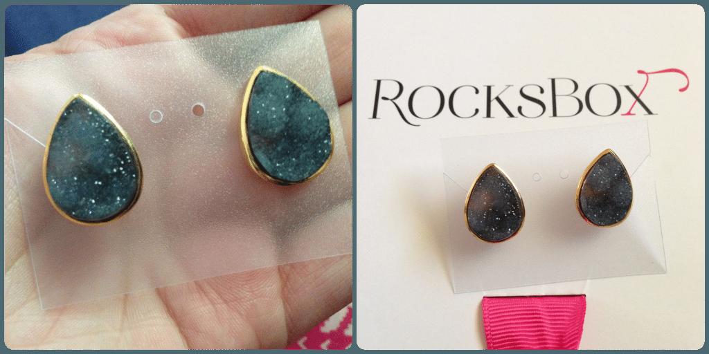 Rocks Box Margaret Elizabeth Teardrop Studs in Black Druzy