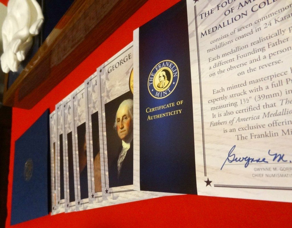 Franklin Mint Founding Fathers of America Coin Collection Cards