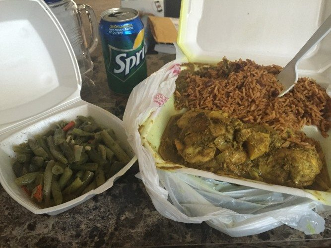 Violette Chicken Curry, Rice & Beans, and Green Beans