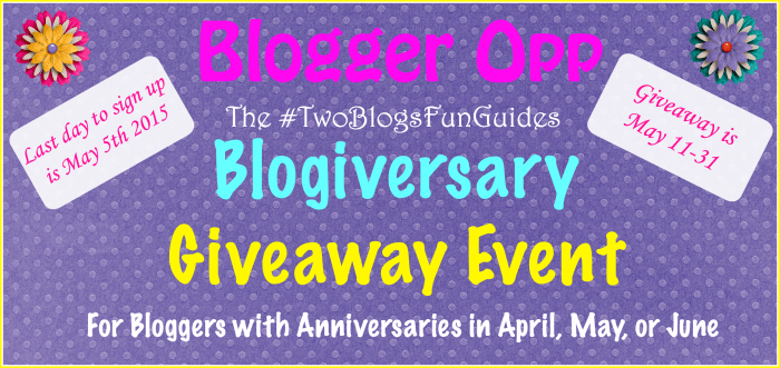 Blogger Opp #TwoBlogsFunGuides Blogiversary Giveaway Event