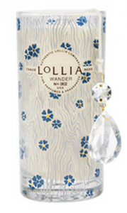 Delicate blue blossoms with Real Gold accents drift across a background of captivating wood grain. Complete with Lollia's iconic hanging cut glass crystal. Soy wax blend.
