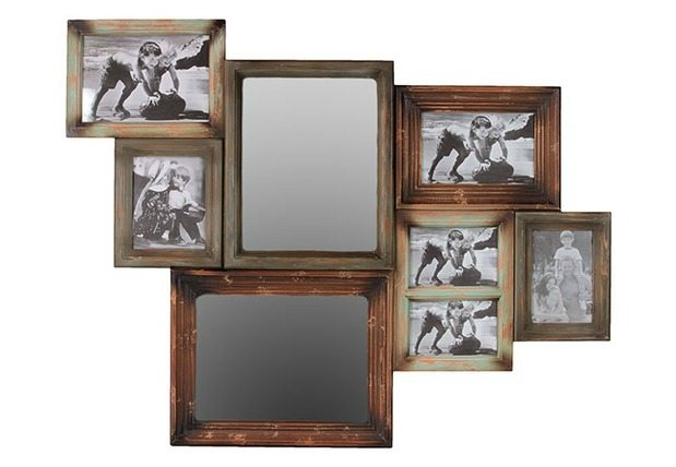 Rustic Home Mirror & Photo Collage