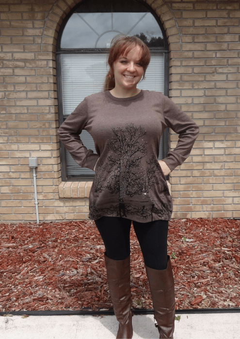 V28 Irregular Blouse in the Color Coffee - Loose Fit (1)