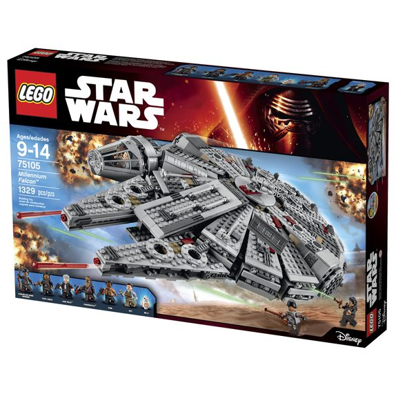 LEGO Star Wars Millenium Falcon..Licensee: LEGO.MSRP: $149.99.Available: September 4. .One of the most iconic starships of the Star Wars saga is back, and it?s leaner and meaner than ever before! As featured in exciting scenes from Star Wars: The Force Awakens, this latest LEGO® version of the Millennium Falcon is crammed with new and updated external features, including an even more streamlined and detailed design, detachable cockpit with space for 2 minifigures, rotating top and bottom laser turrets with hatch and space for a minifigure, dual spring-loaded tools, sensor dish, ramp and an entrance hatch. Open up the hull plates to reveal even more great new and updated details inside, including the main hold with seating area and holochess board, more detailed hyperdrive, secret compartment, extra boxes and cables, and storage for spring-loaded tool. And of course no LEGO Millennium Falcon model would be complete without Han Solo and Chewbacca, as well as other great characters from Star Wars: The Force Awakens. Activate the hyperdrive and set course for LEGO Star Wars fun! Includes 6 minifigures with assorted accessories: Rey, Finn, Han Solo, Chewbacca, Tasu Leech and a Kanjiklub Gang Member, plus a BB-8 Astromech Droid.