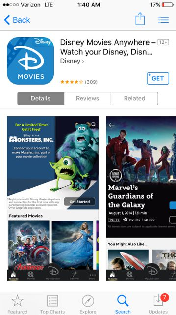Disney Movies Anywhere Apple iOS app
