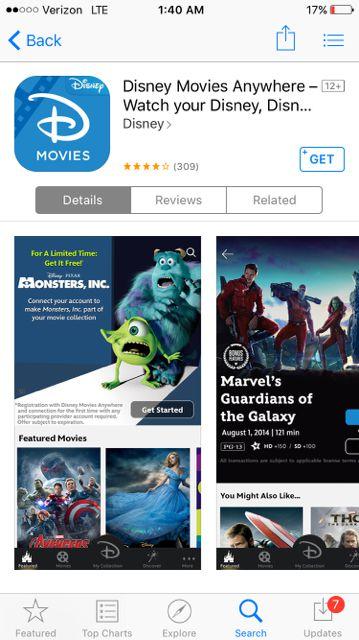 Disney Movies Anywhere Apple iOS app