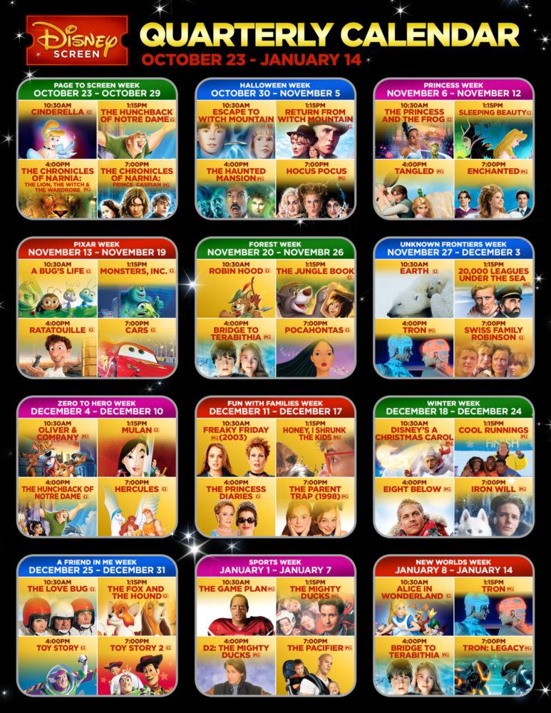 Disney Screen Quarterly Calendar