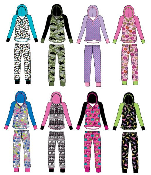 Printed long-sleeved hooded pajama set