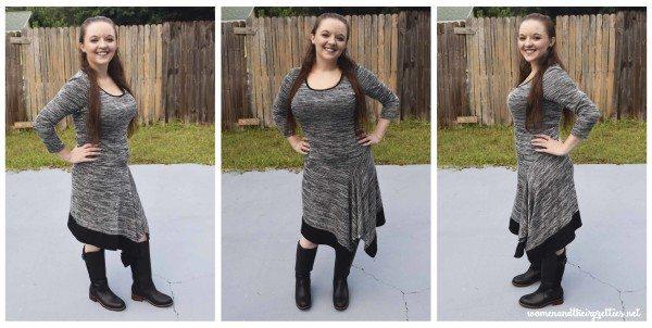 MetroStyle Asymmetrical Hem Dress Christmas Dress