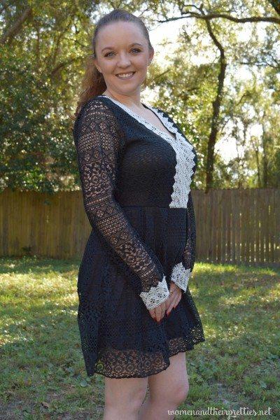 Lookbook Store Review Black Sheer V Neck Dress