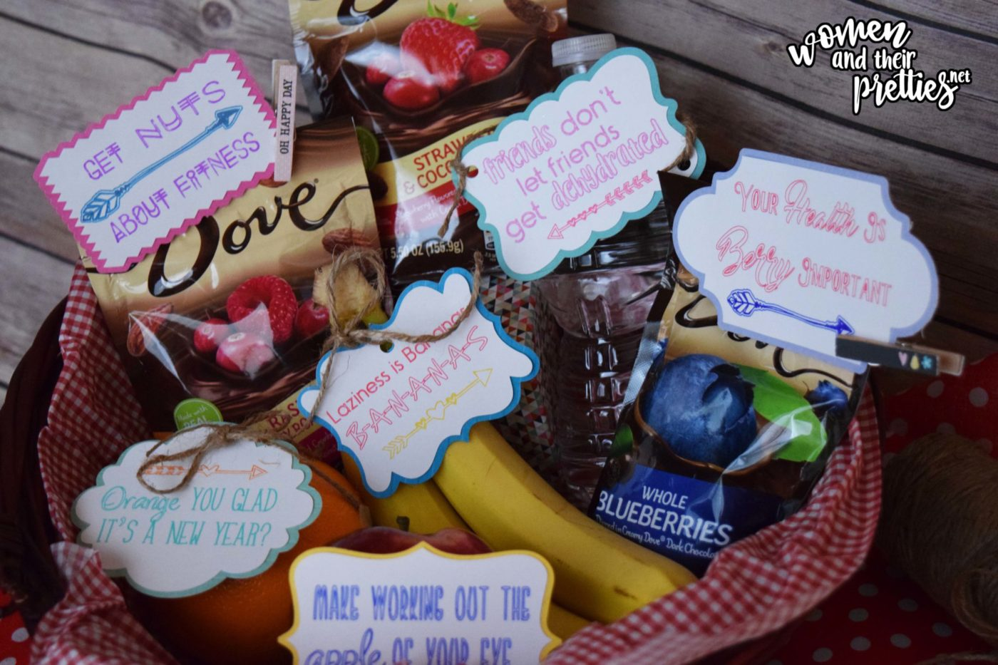 Health Fitness Basket with free printable tags