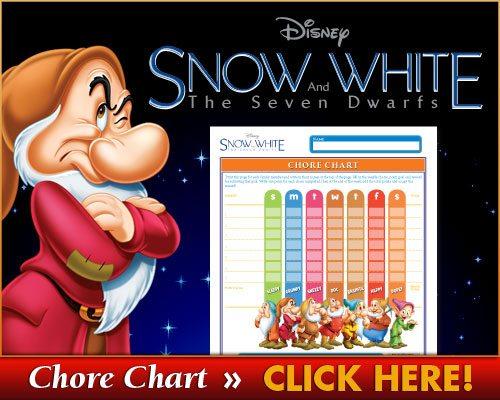 Free Snow White Chore Chart