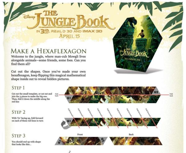 The JUngle Book Free Activity Sheet Hexaflexagon