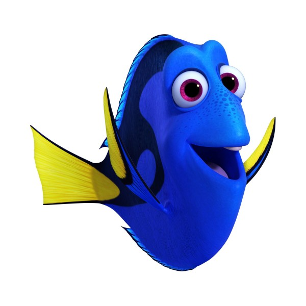 DORY (voice of Ellen DeGeneres) is a bright blue tang with a sunny personality. ©2016 Disney•Pixar. All Rights Reserved.
