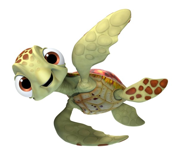 Pictured- SQUIRT. CRUSH (voice of Andrew Stanton) and his SQUIRT (voice of Bennett Dammann) just might be the coolest turtles in the ocean.