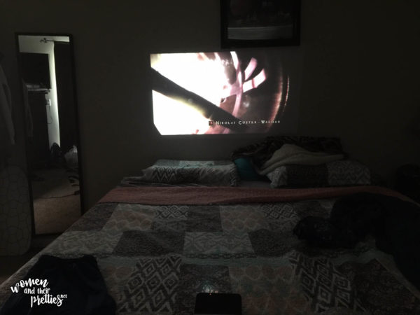 Wireless Projector right in our home on the wall!