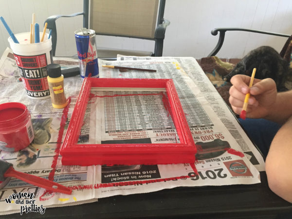 Painting the picture frame - DIY WiFI Sign