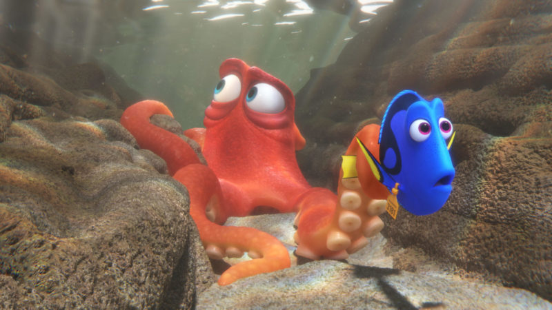 "FINDING DORY – When Dory finds herself in the Marine Life Institute, a rehabilitation center and aquarium, Hank—a cantankerous octopus—is the first to greet her. Featuring Ed O'Neill as the voice of Hank and Ellen DeGeneres as the voice of Dory, ""Finding Dory"" opens on June 17, 2016. ©2016 Disney•Pixar. All Rights Reserved."
