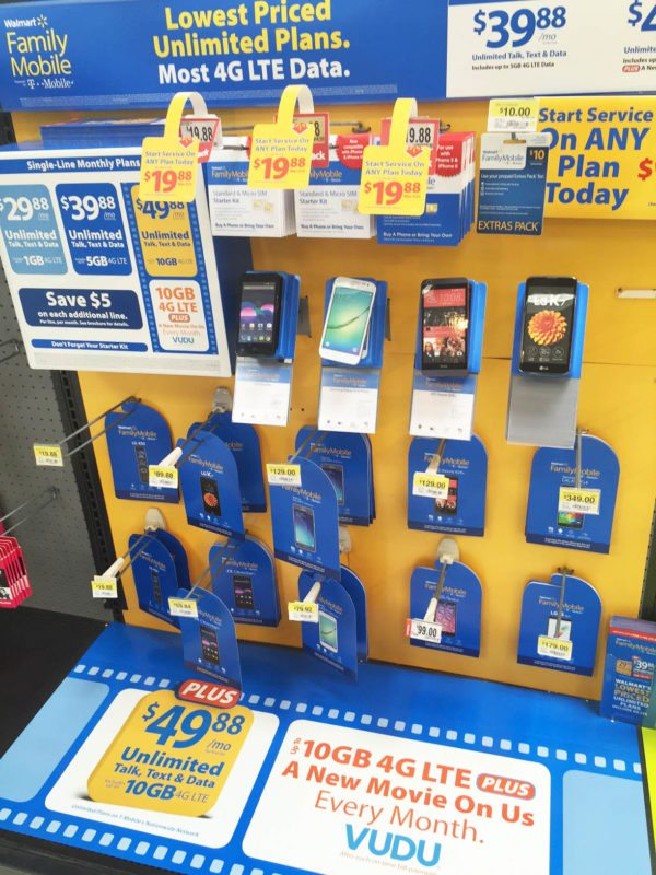 Get a Walmart Family Mobile phone in the electronics section