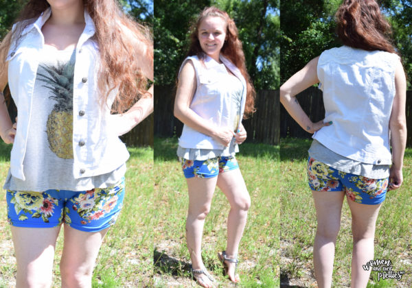 OOTD Pineapple floral shorts and white denim vest