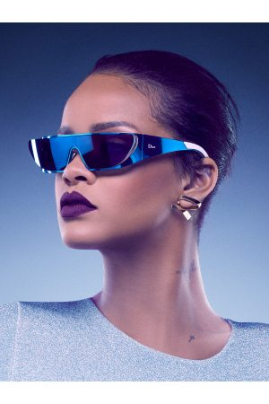 Geek Fashion Rihanna wearing frames from her Dior sunglass collaboration.