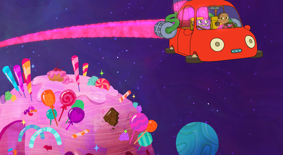 When Home- Adventures with Tip & Oh premieres on Netflix July 29, Tip and Oh zoom past a moon made of sugar as they journey to the grand Gorg Birthday celebration.
