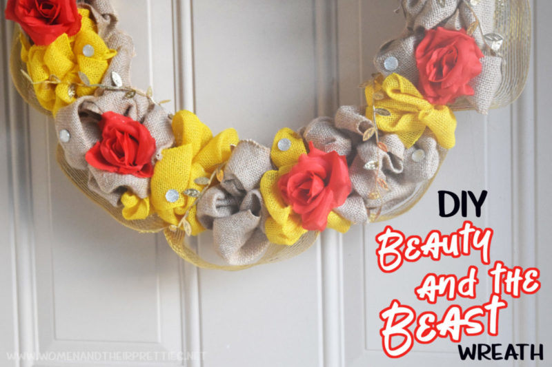 Use this Disney Wreath tutorial to make your own DIY Beauty and The Beast Wreath. It's a burlap wreath, but super cute!