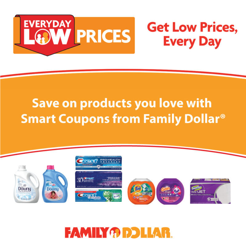 Do you love to save money but always forget to cut coupons and take them to the store? Family Dollar® has a great new option for you! Introducing the Family Dollar® Smart Coupons program where you can clip coupons on brands you love, straight from your PC, tablet or phone.