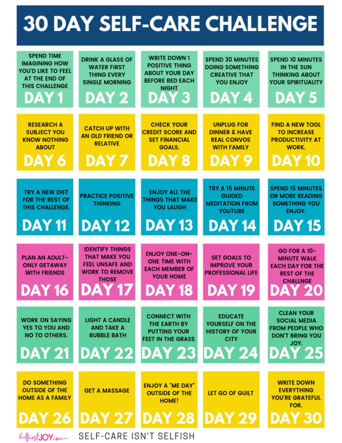 30 Day Self-Care Challenge Calendar Download