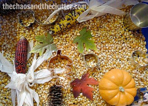 Fall Corn Sensory Bin