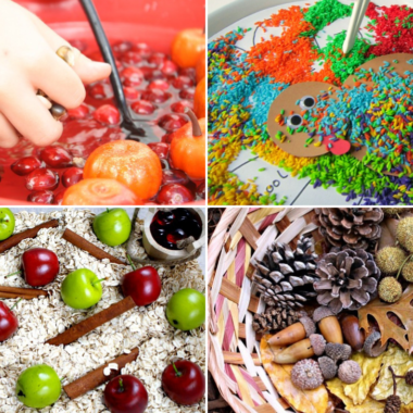 These fall sensory bins will help the little ones to get in the seasonal spirit and will allow you to teach them new words, scents, and more!