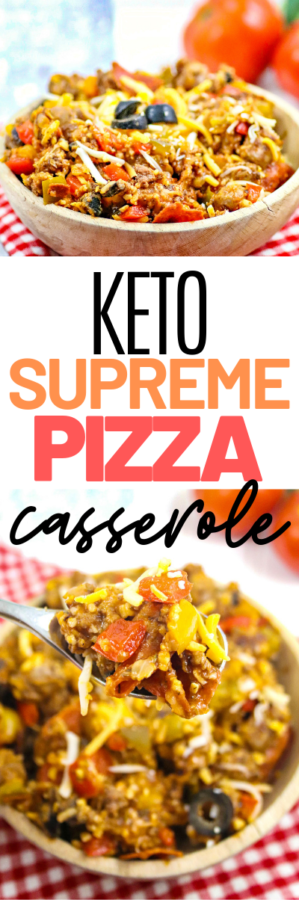 A low carb pizza casserole is the perfect way to stay on the Keto diet but still enjoy the things you love. Serve this on a busy week night for the family.
