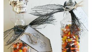 Dollar Store Halloween Crafts - Skull Candy Jar