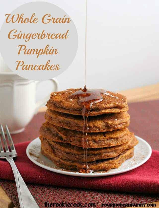 Whole Grain Gingerbread Pumpkin Pancakes