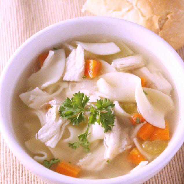 16. CopyCat Panera Bread Chicken Noodle Soup Recipe