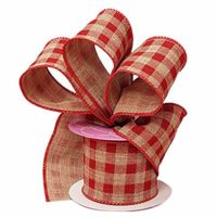 "Red Gingham Wired Christmas Ribbon - 2 1/2"" x 10 Yards, Rustic Farmhouse Decor, Wedding Decoration, Wreath, Garland, Swag"