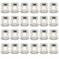 Mini Glass Jars w Silver Lids