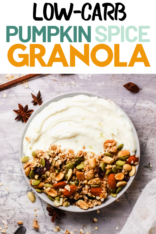 Pumpkin Spice granola may not be entirely keto but it's definitely a great low-carb fall snack! With a variety of nuts and seeds, you'll want to snack on this all day long! #PumpkinSpice #LowCarbSnacks