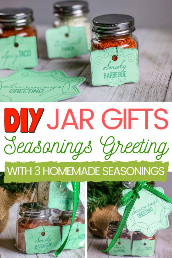 This DIY Seasonings Greeting Jar Gift idea is great for anyone who enjoys cooking. This budget-friendly gift idea includes FREE Gift Tags to print at home. #JarGifts #MasonJarGifts #GiftsInAJar