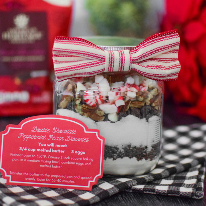Delicious Brownies in a Jar for Christmas Gift