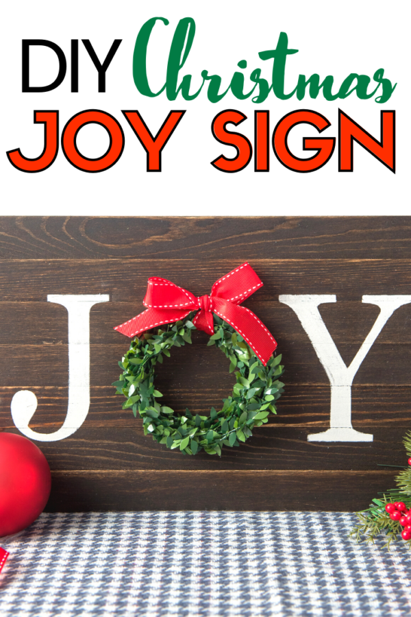 Painted Joy Wood Sign for Christmas DIY