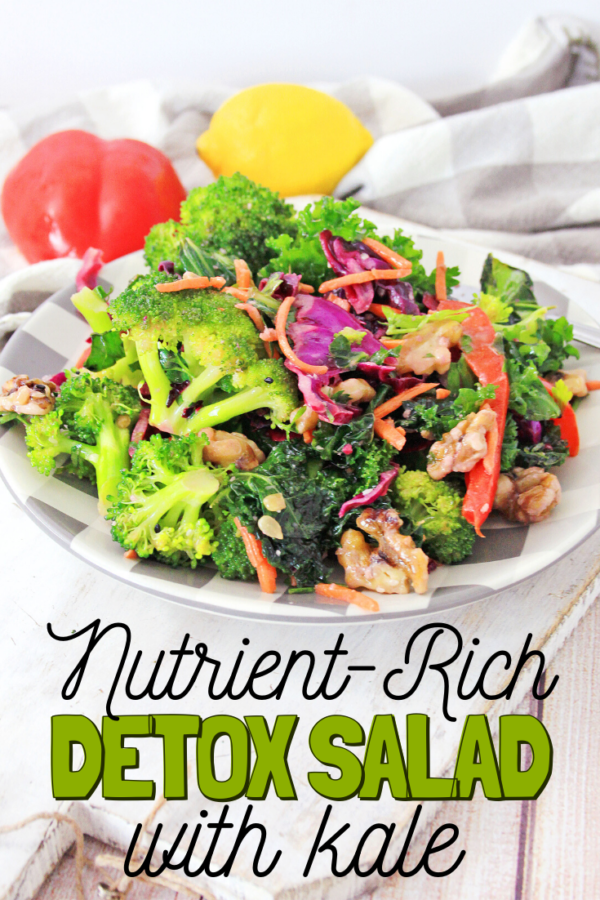 This Detox Kale Salad is the perfect way to jump start your healthy eating habits. With bright greens and only the freshest ingredients, your body will thank you later.