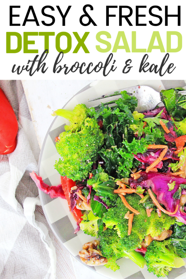 This Detox Kale Salad is the perfect way to jump start your healthy eating habits. With bright greens and only the freshest ingredients, your body will thank you later. #DetoxSalad #DetoxRecipes
