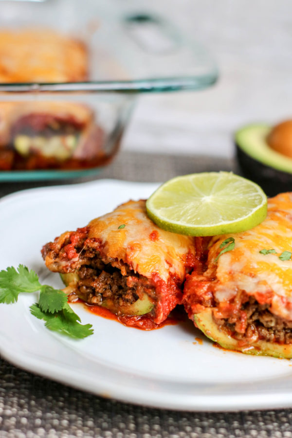 Zucchinis Stuffed with Beef and Enchiladas sauce