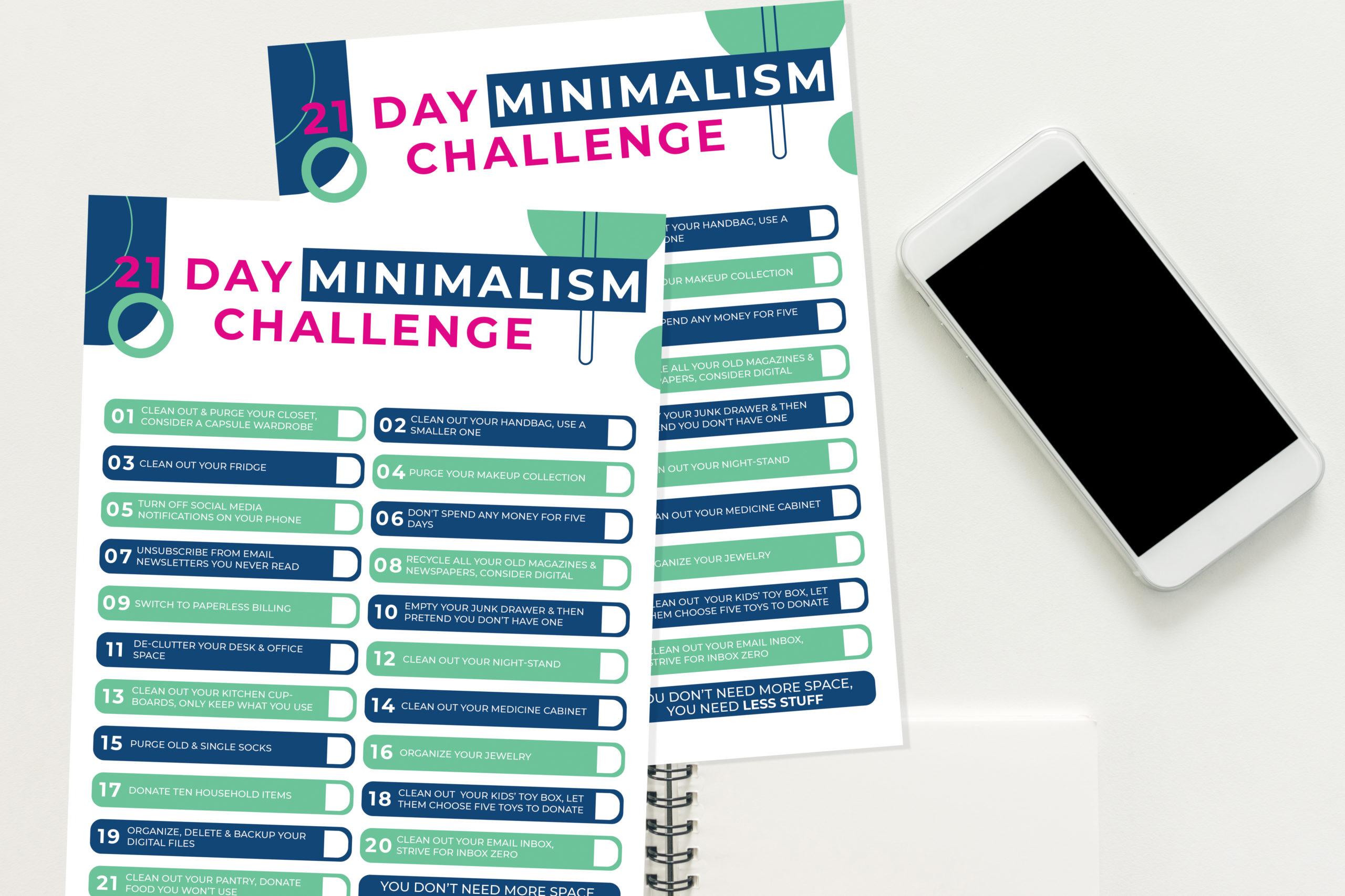 21 Day Minimalism Challenge Free Printable Checklist But First Joy