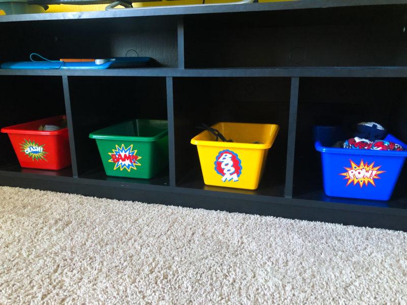 Custom Buckets in Child Superhero Room