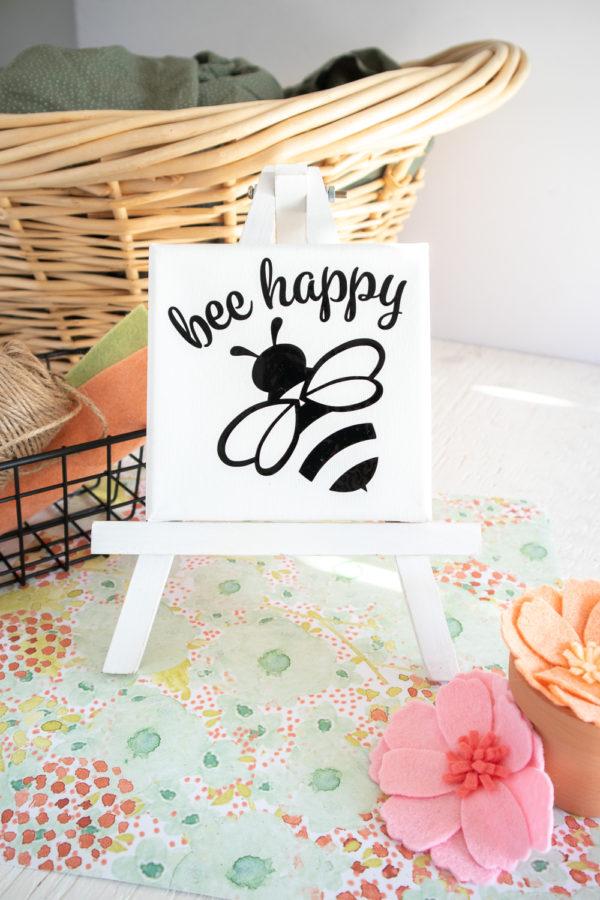 DIY Bee Happy Canvas Cricut Joy