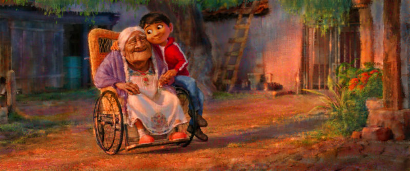 "FAMILY TIES — In Disney•Pixar's ""Coco,"" aspiring musician Miguel (voice of newcomer Anthony Gonzalez) feels a deep connection to his great grandmother, Mama Coco. Concept art visual design by Sharon Calahan and animation by Kristophe Vergne. Directed by Lee Unkrich (""Toy Story 3""), co-directed by Adrian Molina (story artist ""Monsters University"") and produced by Darla K. Anderson (""Toy Story 3""), ""Coco"" opens in U.S. theaters on Nov. 22, 2017. ©2016 Disney•Pixar. All Rights Reserved. ."