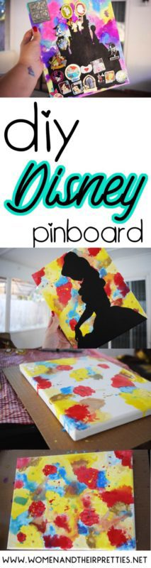 Disney DIY Pinboard: Use this easy tutorial to make a colorful Disney pinboard with paint, water, and a canvas. Display your Disney pins with pride!