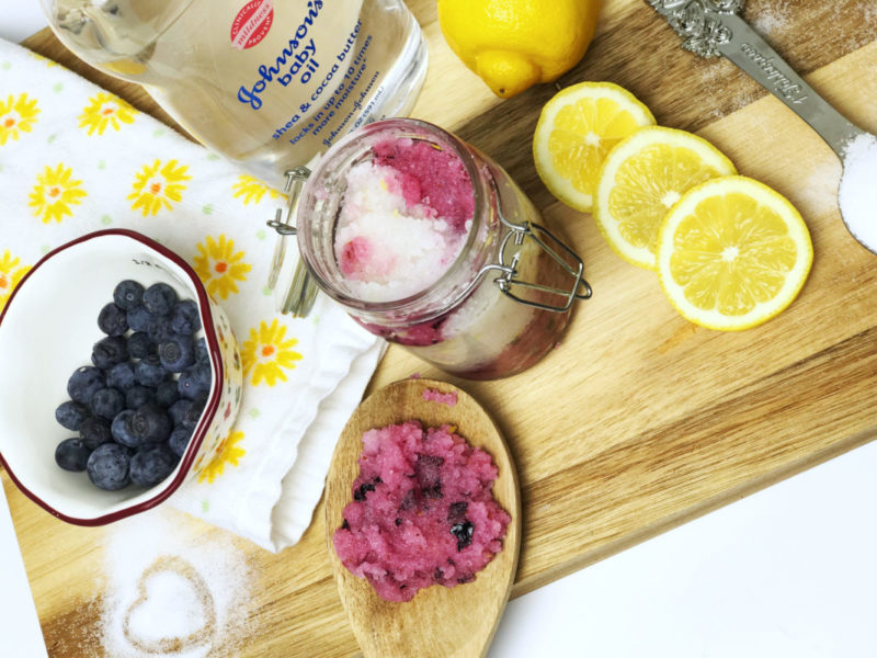 DIY Blueberry Lemon Sea Salt Hand Scrub